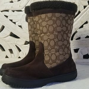 Coach 9.5 Sherman Signature Tan Warm Winter Boots